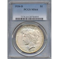 1934-D $1 Peace Silver Dollar Coin PCGS MS64