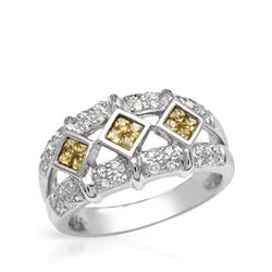14KT White Gold 0.29ctw Yellow Sapphire and Diamond Ring