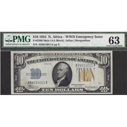 1934 $10 North Africa Silver Certificate PCGS 63