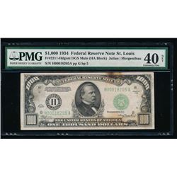 1934 $1000 St Louis Federal Reserve Note PMG 40NET