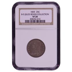 1835 Liberty Capped Bust Quarter Coin NGC VF20