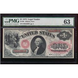 1875 $1 Legal Tender Note PMG 63