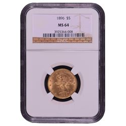 1896 $5 Liberty Head Half Eagle Gold Coin NGC MS64