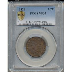 1826 Liberty Half Cent Coin PCGS VF35