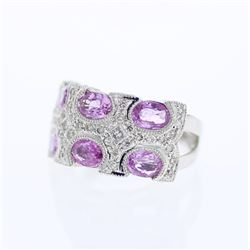 14KT White Gold 3.09ctw Sapphire and Diamond Ring