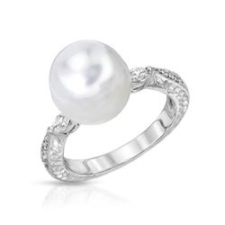 14KT White Gold 8.60ct Pearl and Diamond Ring