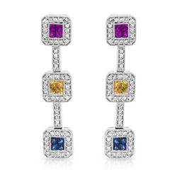 14KT White Gold 1.34ctw Multi Color Sapphire and Diamond Earrings