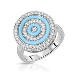14KT White Gold 0.74ctw Turquoise and Diamond Ring