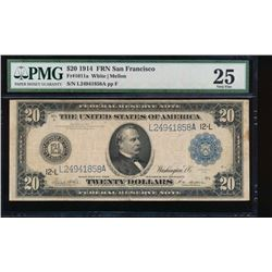 1914 $20 San Francisco Federal Reserve Note PMG 25