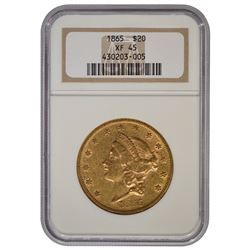 1865 $20 Liberty Head Double Eagle Gold Coin NGC XF45