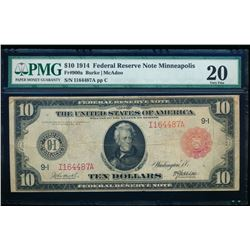 1914 $10 Minneapolis Red Seal Federal Reserve Note PMG 20