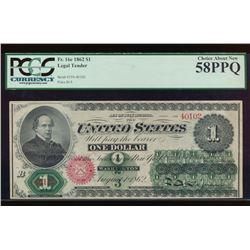 1862 $1 Legal Tender Note PCGS 58PPQ