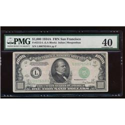 1934A $1000 San Francisco Federal Reserve Note PMG 40