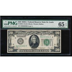 1928A $20 St Louis Federal Reserve Note PMG 65EPQ