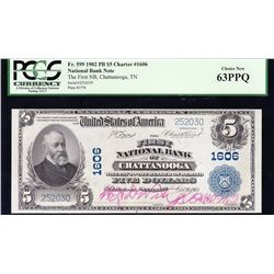 1902 $5 Chattanooga National Bank Note PCGS 63PPQ