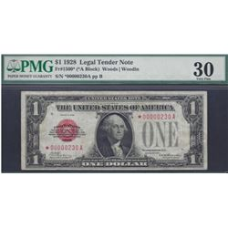1928 $1 Legal Tender Star Note PMG 30