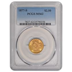 1877-S $2.5 Liberty Head Quarter Eagle Gold Coin PCGS MS62
