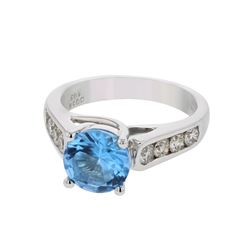 18KT White Gold 1.60ct Blue Topaz and Diamond Ring