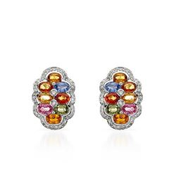 14KT White Gold 8.92ctw Multi Color Sapphire and Diamond Earrings