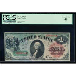 1869 $1 Legal Tender Star Note PCGS 40