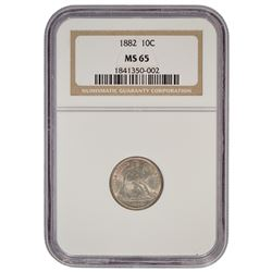 1882 Seated Liberty Dime Coin NGC MS65