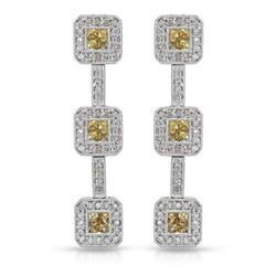 14KT White Gold 1.13ctw Yellow Sapphire and Diamond Earrings