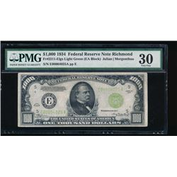 1934 $1000 Richmond Federal Reserve Note PMG 30