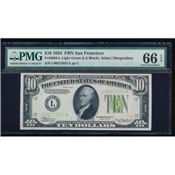 1934 $10 San Francisco Federal Reserve Note PMG 66EPQ