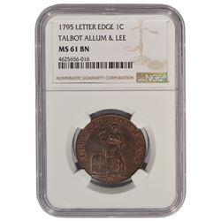 1795 Letter Edge Cent Coin NGC MS61BN