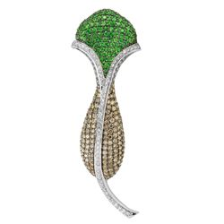 14KT White Gold 2.80ctw Tsavorite and Diamond Brooch