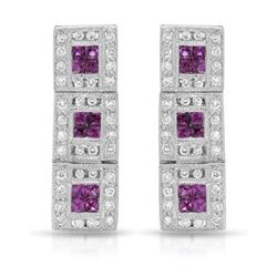 18KT White Gold 0.56ctw Ruby and Diamond Earrings