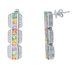 14KT White Gold 3.01ctw Multi Color Sapphire and Diamond Earrings