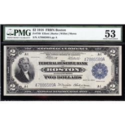 1918 $2 Boston Federal Reserve Bank Note PMG 53