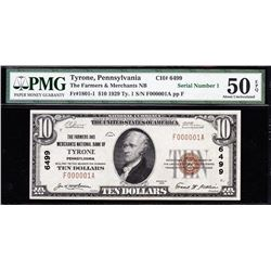 1929 $10 Serial No 1 Tyrone National Currency Note PMG 50EPQ