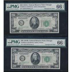 1934A and 1934B $20 Chicago Federal Reserve Notes PMG 66EPQ