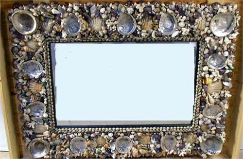 image 1 a contemporary shell decorated large rectangular mirror - Decorated Mirror
