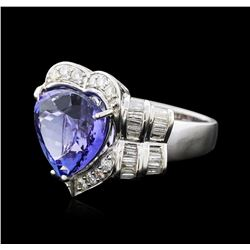 18KT White Gold 8.74 ctw Tanzanite and Diamond Ring