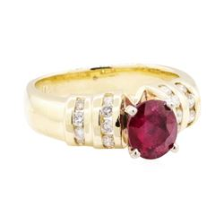 1.67 ctw Ruby And Diamond Ring - 14KT Yellow Gold
