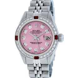 Rolex Ladies Stainless Steel Pink Diamond & Ruby Datejust Wristwatch