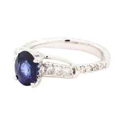1.59 ctw Sapphire and Diamond Ring - 18KT White Gold