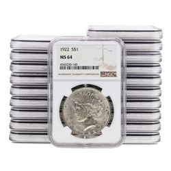 Lot of (20) 1922 $1 Peace Silver Dollar Coin NGC MS64