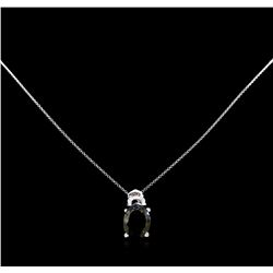 6.58 ctw Tourmaline and Diamond Pendant with Chain - 14KT White Gold