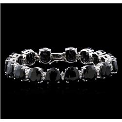 77.74 ctw Blue Sapphire and Diamond Bracelet - 14KT White Gold