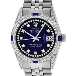 Rolex Mens Stainless Steel Diamond Lugs Blue Vignette & Sapphire Datejust Wristw