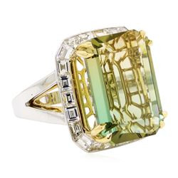 22.01 ctw Bi-Colored Tourmaline And Diamond Ring - 18KT White And Yellow Gold