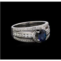 1.21 ctw Sapphire and Diamond Ring - 18KT White Gold