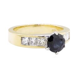 1.33 ctw Sapphire and Diamond Ring - 14KT Yellow Gold