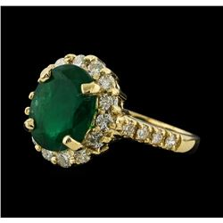 3.13 ctw Emerald and Diamond Ring - 14KT Yellow Gold