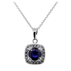 1.71 ctw Blue Sapphire Pendant With Chain - 14KT White Gold