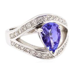 2.35 ctw Tanzanite And Diamond Ring - 18KT White Gold